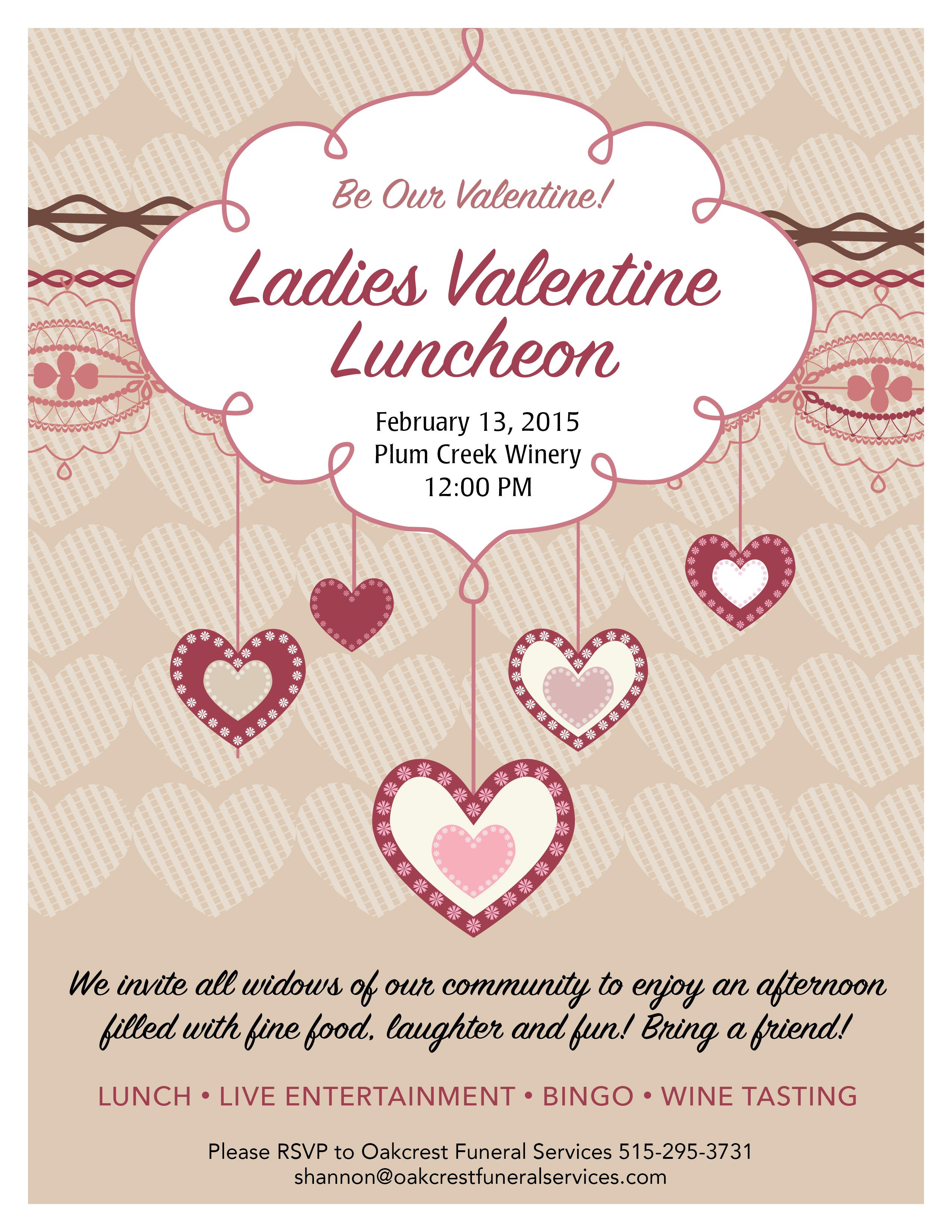 ladies valentine luncheon event for widows oakcrest funeral